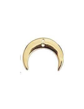 Pendentif croissant de lune 28mm 2 trous doré