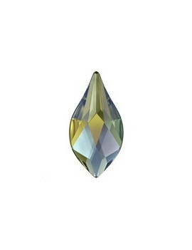 Flame flat back 10mm crystal iridescent green foiled