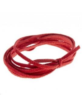 Suédine 2mm rouge vendue au mètre