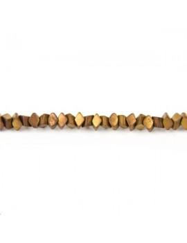 Hématite losange 3x1,5mm doré lot de 13,3cm (environ 40 perles)