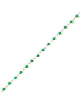 Chaîne perlée émeraude renforcée facettée 2,5mm sur fil argent 925/1000 flash doré vendue au mètre