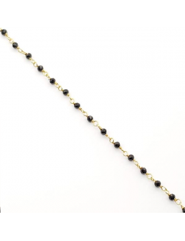 Chaine perlée onyx noir facetté 2,2mm