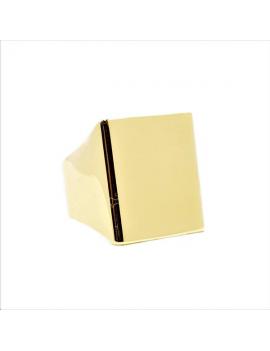 Bague chevalière plateau rectangle 18x20mm doré, réglable.