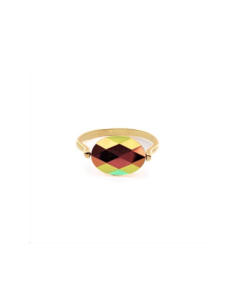 My precious kit Bague ovale est composé d'un corps de bague à picots 22mm doré à l'or fin 24 carats 1 micron à insérer sur une p