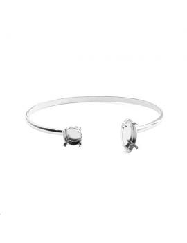 Jonc avec sertissure pour navette 15mm(référence: 420015) en cristal Swarovski et strass rond 8,41mm (SS39) référence: 102839,