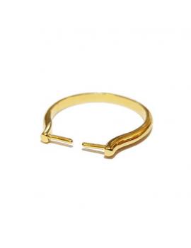 Bague à picots 22mm pour pierres, perles et cristaux percés interchangeables doré, non réglable.Taille de la bague non montée 5