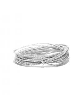 Cordon de soie japonaise souple 0.5mm couleur argent vendu au mètre.
