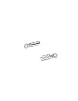 Embout à pincer 7mm un anneau pour cordon fin ou chaîne MCH0090A plaqué argent 10 microns.