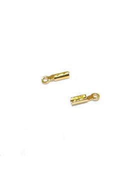Embout à pincer 7mm un anneau pour cordon fin ou chaîne MCH0090D doré à l'or fin 24 carats 1 micron.