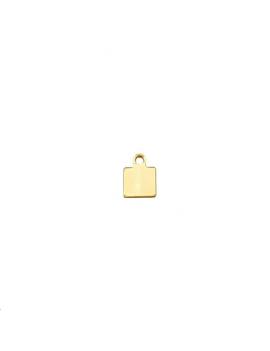Pampille carrée avec anneau  doré