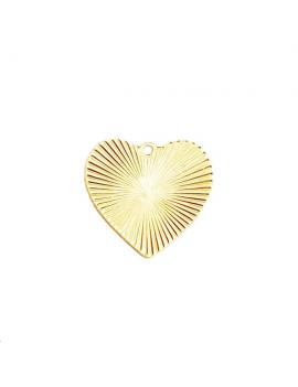 Pendentif coeur strié 21x9mm doré