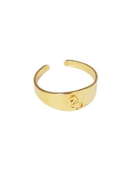 Bague réglable avec anneau 7mm doré