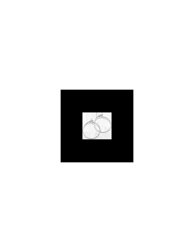 Créoles 15mm 1 anneau plaqué argent  vendues par paire