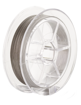 Câble aciergainé nylon 19 brins(Crinelle) pour montage de bijoux. Diamètre: 0,45mm vendu en bobine de30 mètres