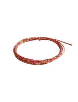 Coton ciré métallisé rose et or
