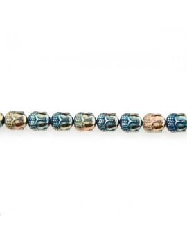 Hématite bouddha 10x9mm laiton bleu vif lot de 1 pièce