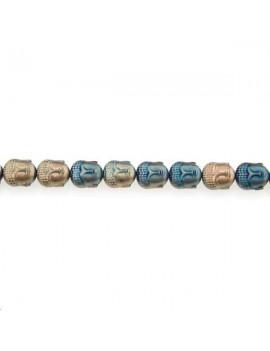 Hématite bouddha 10x9mm laiton bleu lot de 1 pièce