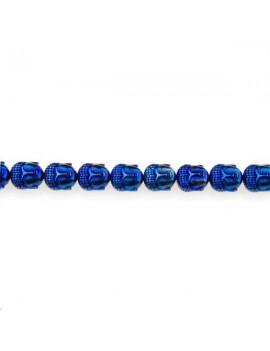 Hématite bouddha 10x9mm bleu métalique lot de 1 pièce