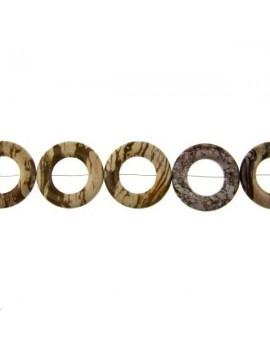 Jaspe zebré anneau rond 40mm brun lot de 1 pièce