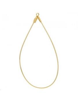 Créoles ovales ouvertes 55x25mm avec anneau doré vendues par paire