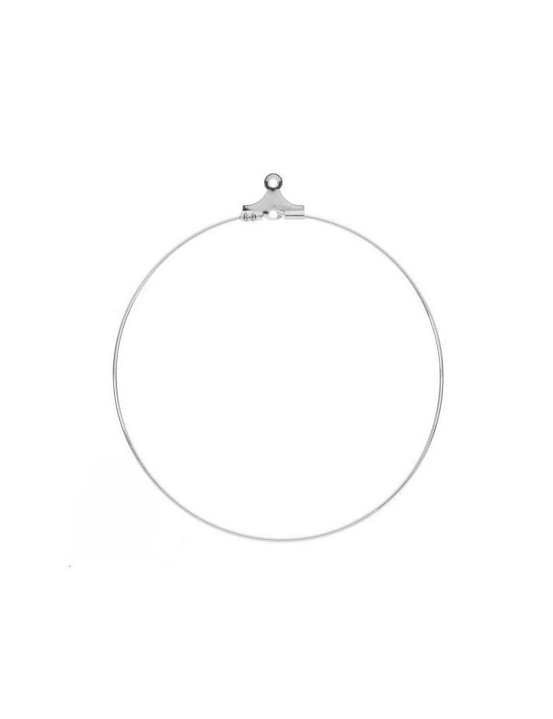 Créoles ouvertes 50mm avec anneau plaqué argent vendues par paire