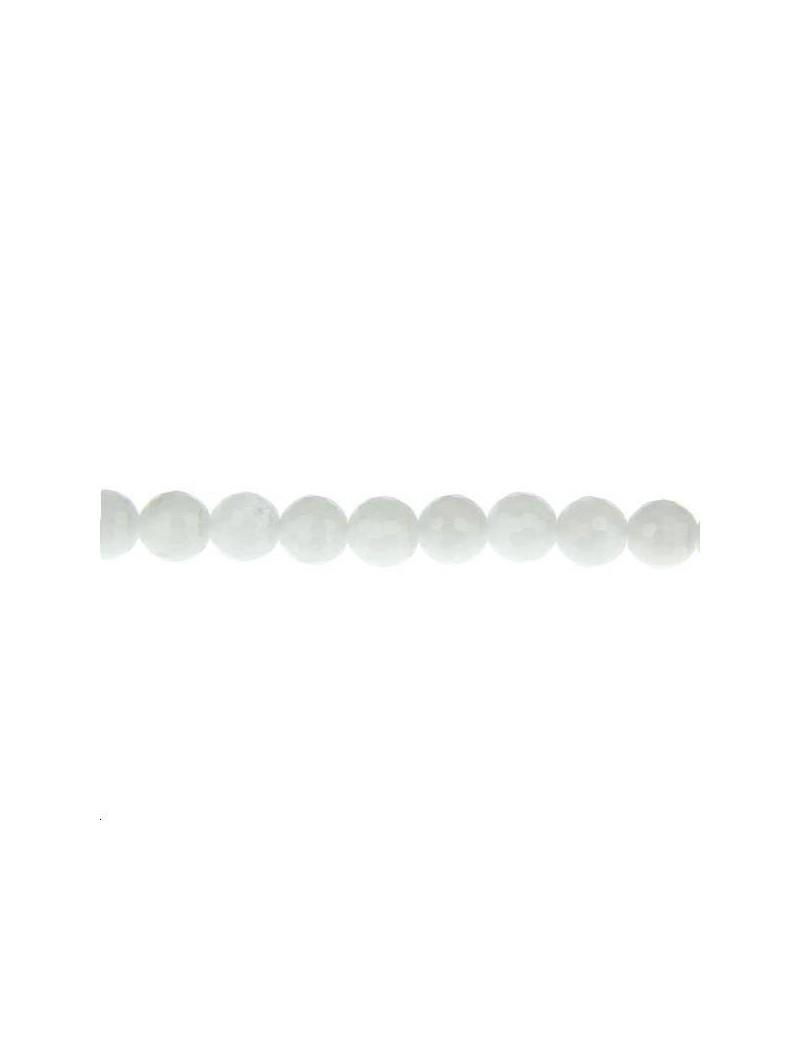 Quartz rond facettes 6mm blanc lot de  5 pièces